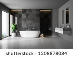 modern bathroom interior with... | Shutterstock . vector #1208878084
