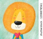 cute cartoon character lion...   Shutterstock . vector #1208878561