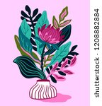 protea with tropical leaf on... | Shutterstock .eps vector #1208882884