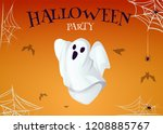 halloween party poster with... | Shutterstock .eps vector #1208885767
