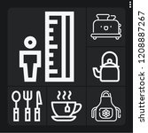 set of 6 kitchen outline icons... | Shutterstock .eps vector #1208887267