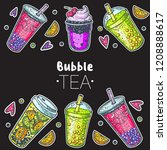 bubble tea hand drawn...   Shutterstock .eps vector #1208888617