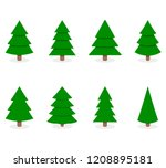 green xmas tree set isolated on ... | Shutterstock .eps vector #1208895181