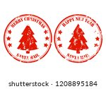 santa post mail rubber stamp... | Shutterstock .eps vector #1208895184