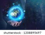 unrecognizable businessman... | Shutterstock . vector #1208895697
