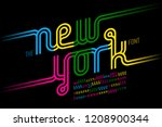 colorful continuous line font ... | Shutterstock .eps vector #1208900344