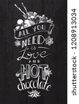 hot chocolate lettering  all... | Shutterstock .eps vector #1208913034