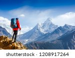 Hiker On The Top In Himalayas...