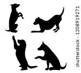 vector silhouette of dog set on ... | Shutterstock .eps vector #1208919271