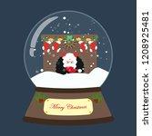 christmas snow globe on the... | Shutterstock .eps vector #1208925481