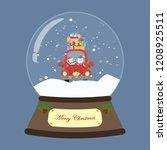 santa in red car in snow globe... | Shutterstock .eps vector #1208925511