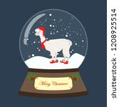 snow globe with llama on the... | Shutterstock .eps vector #1208925514