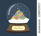 christmas snow globe on the... | Shutterstock .eps vector #1208925517
