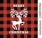 deer illustration on plaid... | Shutterstock .eps vector #1208925544