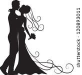 black silhouette of kissing... | Shutterstock .eps vector #120893011