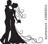black silhouette of kissing...