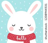Stock vector cute rabbit winter theme card easter or christmas bunny face background vector illustration 1208944531