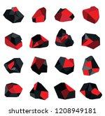 glowing charcoal coal 2 | Shutterstock .eps vector #1208949181
