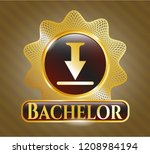 shiny badge with download icon ... | Shutterstock .eps vector #1208984194