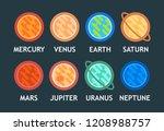 vector flat set of solar system ... | Shutterstock .eps vector #1208988757