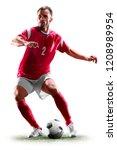 one caucasian soccer player man ...   Shutterstock . vector #1208989954