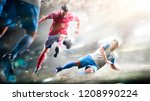 soccer players in action on the ... | Shutterstock . vector #1208990224