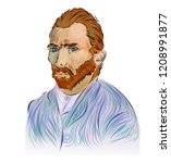 portrait of vincent van gogh.... | Shutterstock .eps vector #1208991877