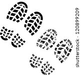 grunge silhouette of shoe print ... | Shutterstock .eps vector #120899209