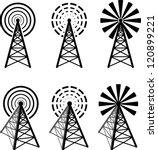 set of different radio tower... | Shutterstock .eps vector #120899221