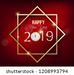 happy new year 2019 and merry... | Shutterstock . vector #1208993794