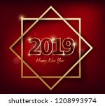 happy new year 2019 and merry... | Shutterstock . vector #1208993974