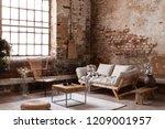 armchair and beige sofa in... | Shutterstock . vector #1209001957