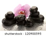 Spa stones and orchid flower, on wet background - stock photo