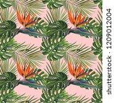 watercolor tropical wildlife... | Shutterstock . vector #1209012004