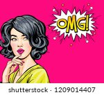thinking young sexy woman... | Shutterstock . vector #1209014407