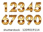 gold metallic numbers set... | Shutterstock .eps vector #1209019114