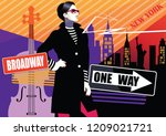 fashion woman in style pop art... | Shutterstock .eps vector #1209021721