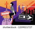 fashion woman in style pop art... | Shutterstock .eps vector #1209021727