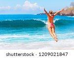 happy family vacation. girl in... | Shutterstock . vector #1209021847