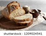 artisan sliced toast bread with ... | Shutterstock . vector #1209024541