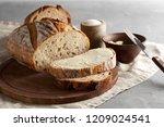 artisan sliced toast bread with ...   Shutterstock . vector #1209024541