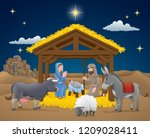 a christmas nativity scene... | Shutterstock .eps vector #1209028411