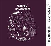 happy halloween hand drawn... | Shutterstock .eps vector #1209032677