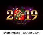 happy new year 2019 with gift ... | Shutterstock . vector #1209052324