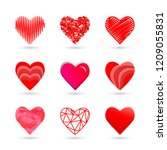 heart icon set in red color and ... | Shutterstock .eps vector #1209055831