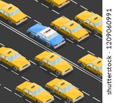 flat 3d isometric yellow taxi... | Shutterstock .eps vector #1209060991