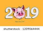 illustration  happy new year... | Shutterstock . vector #1209064444