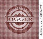 jogger red emblem or badge with ... | Shutterstock .eps vector #1209068941