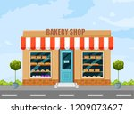 bakery shop facade vector.... | Shutterstock .eps vector #1209073627
