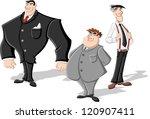 group of three cartoon business ...